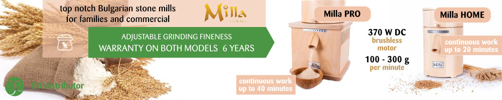 Milla HOME and Milla PRO stone mills with 6 year warranty on LIFEENERGY