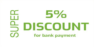 5% discount for bank payment
