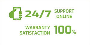 Satisfaction guarantee and 24/7 online support